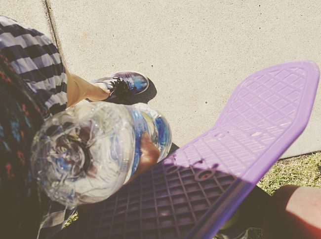 Penny board, water, Galaxy shoes