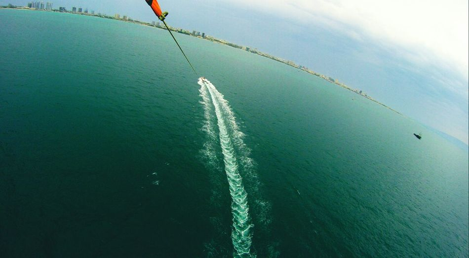 View From Parachute Behind Motor Boat