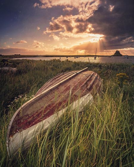 Upturn Sky Sunrise Sunset Lindisfarne Northumberland Rural Scene Seaside Seascape Sea And Sky Tranquility Boat Abandoned Abandoned Places Derelict Beauty In Nature No People Landscape Outdoors Waterfront Great Britain Beachphotography (null) Finding New Frontiers Upturned Boat The Great Outdoors - 2017 EyeEm Awards