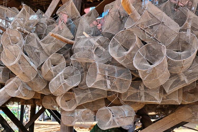 Fishing traps in village on tonle sap lake in cambodia