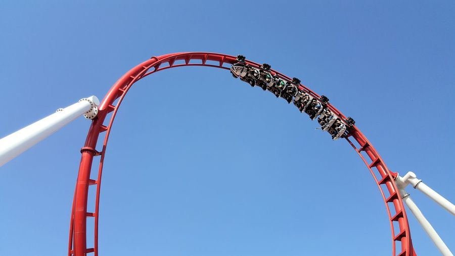Low Angle View Of Rollercoaster Against Clear Sky