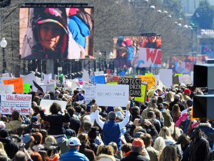 A large crowd of protesters along Pennsylvania Avenue attending the pro- gun control March For Our Lives in Washington, DC on March 24, 2018. Activism Art Protest Adult Adults Only Architecture Building Exterior Crowd Day Gun Control Gun Safety Large Group Of People Lifestyles March For Our Lives Mass Shooting Men Outdoors People Placard Real People Women