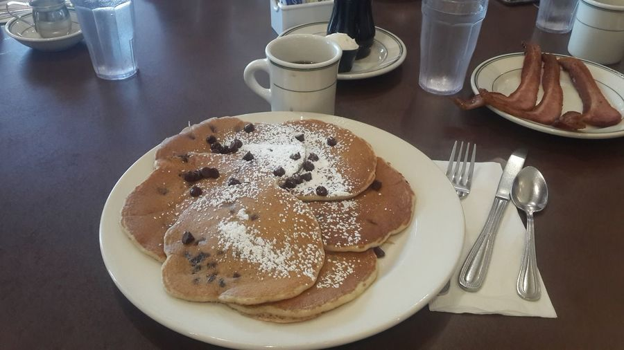 Chocolate Chocolate Chip Pancakes Coffee - Drink Cultures Day Drink Food Food And Drink Fork Freshness Indoors  Latte No People Plate Ready-to-eat Sweet Food Table