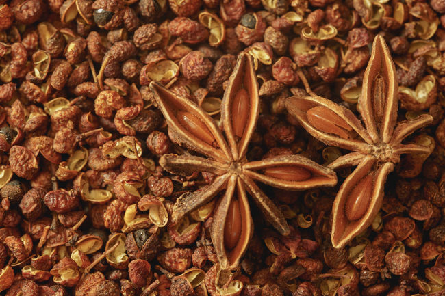 Star Anise Resting on Sichuan Pepper Chinese Food Cooking PEPPERCORN Peppercorns Sichuan Sichuan Pepper Anise Backgrounds Chinese Close-up Food Food And Drink Freshness Full Frame Healthy Eating Indoors  Ingredient No People Pepper Seed Spice Star Anise