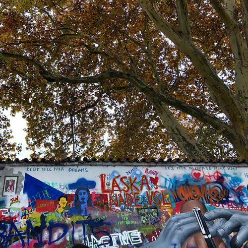 John Lennon Lennon Wall Multi Colored Tree Graffiti Architecture Creativity Art And Craft Low Angle View