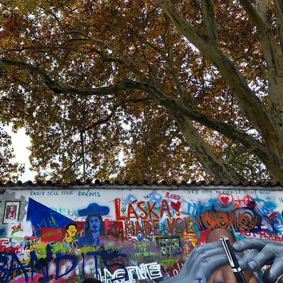 John Lennon Lennon Wall Multi Colored Tree Graffiti Architecture Creativity Art And Craft Low Angle View