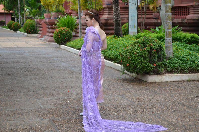 Thai Wedding Asian Culture Thai Thailand Females Full Length Lifestyles One Person Purple Purple Dress Purple Dress:) Real People Standing Thai Wedding Violet Dress Wedding Dress Women