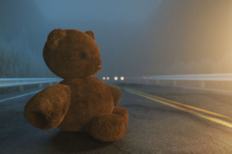 Close-up of stuffed toy by road against sky