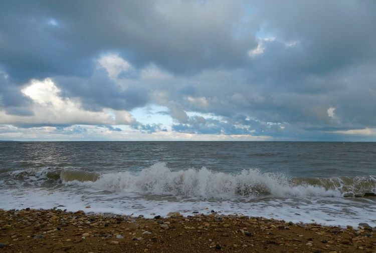 Waves breaking on beach Tide Autumn Copy Space Landscape_Collection Landscape Photography Water Sea Cloud - Sky Sky Beach Land Scenics - Nature Horizon Over Water Horizon Outdoors No People Tranquil Scene