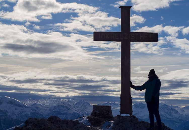 Clouds Silhouette Clouds Snow Covered Snow Mountain Peak Belief Religion Cross Spirituality Sky Cloud - Sky Mountain Nature Crucifix Beauty In Nature Tranquility Mountain Range Outdoors