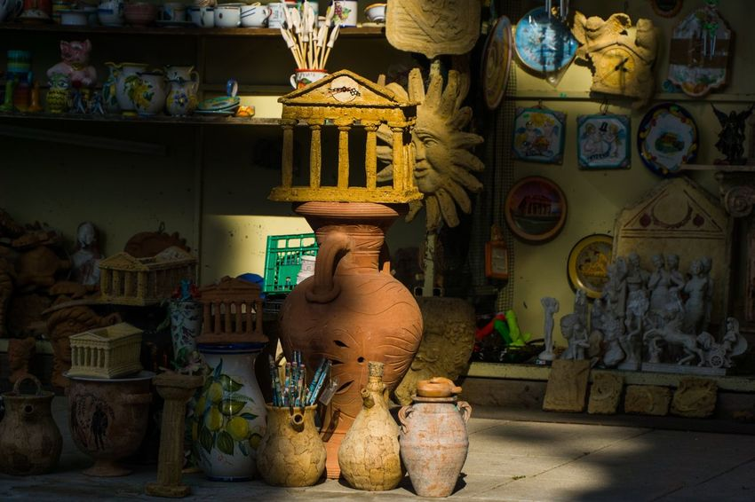 Paestum Roman ruins, Italy Art And Craft No People Craft Indoors  Store Architecture Creativity Human Representation Small Business Large Group Of Objects Building Shelf Representation Day Retail  Built Structure Market Multi Colored Business The Still Life Photographer - 2018 EyeEm Awards