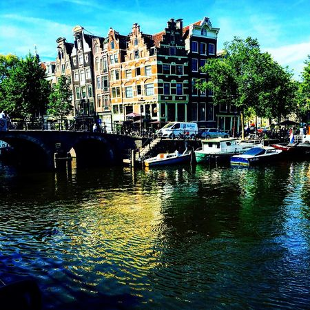 Colorful Amsterdam Canal Building Exterior Water Amsterdam Nederland I Love You❤ Nederland Mooi EyeEm Cityscape Amsterdam Vibe Reflection Built Structure Travel Destinations City Waterfront Canal Outdoors Sky Tree Day No People