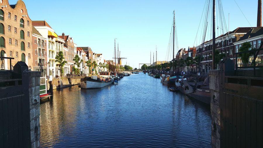 Taking Photos Sunny Day Architecture Harbour Bridge Urban Boats Historical Sights Historisch Delfshaven Dutch Canals