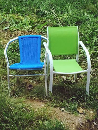Chair Grass Blue Green Outdoors Kindersessel