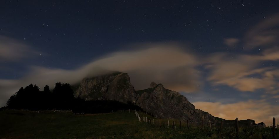 Gauschla at night Clouds And Sky Gauschla Landscape Long Exposure Mountain Nightphotography Palfries Rhinevalley Swiss Alps Weather Olympus OM-D EM-1 Night Stars Switzerland Mountains Clouds Cloud - Sky Light Pollution