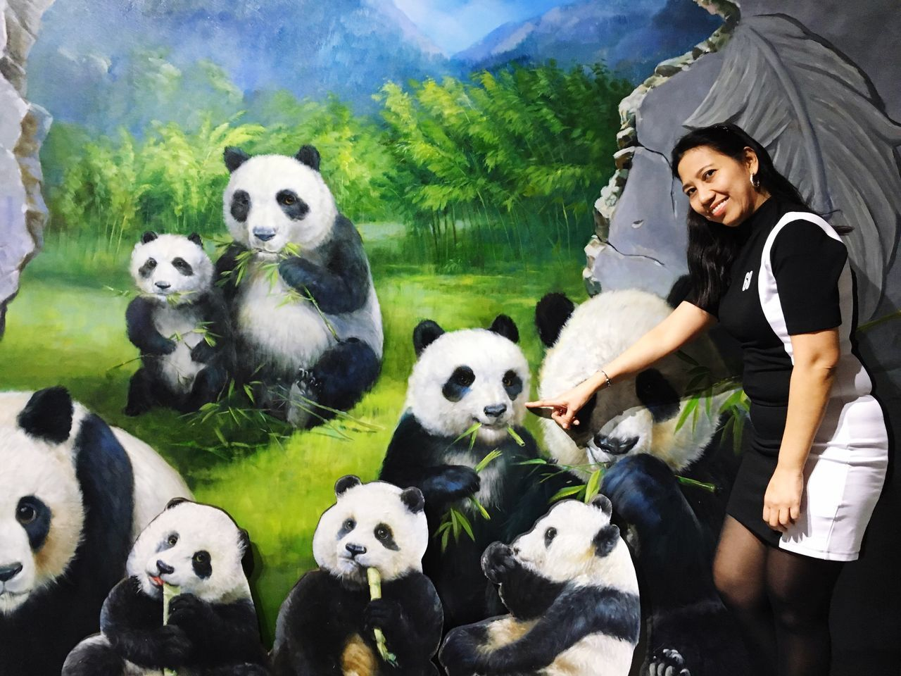 panda - animal, mountain, cute, panda, smiling, looking at camera, cheerful, animal themes, togetherness, happiness, portrait, outdoors, mammal, giant panda, young women, day, young adult, sky, people, adult