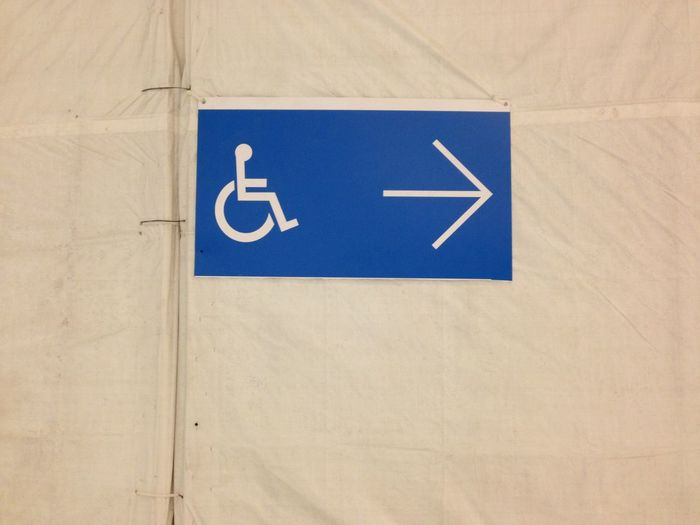 Blue Close-up Day Directional Sign Geometric Shape Green Color Information Information Sign No People Road Sign Wheelchair Sign White Icon