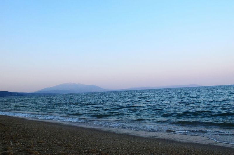 Beach Sea Water Sand Tranquility Nature Outdoors Clear Sky Beauty In Nature Sky Sunset Landscape Horizon Over Water No People Blue Summer Day Summeringreece Photography Summerlife Travel Destinations Vacations