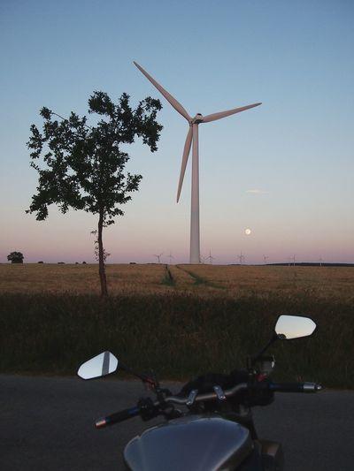 Wind turbines on landscape