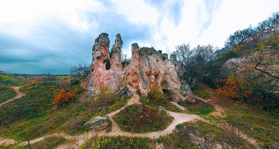 """Panoramic view of the """"Teve szikla"""" (Camel cliff) at the Pilis mountain, Hungary Alien Landscape Beauty In Nature Camel Cliff Cloud - Sky Environment Eroded Landscape Mountain Nature No People Non-urban Scene Outdoors Rock - Object Rock Formation Rocks Scenics - Nature Teve Szikla Travel Destinations"""
