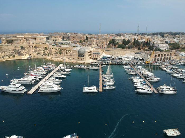 summer Malta blue water harbour beautiful dron Nautical Vessel Water Tall Ship Sea Sailing Ship Harbor City Sky Architecture Yacht Sailing Regatta Yachting Boat Ship Cruise