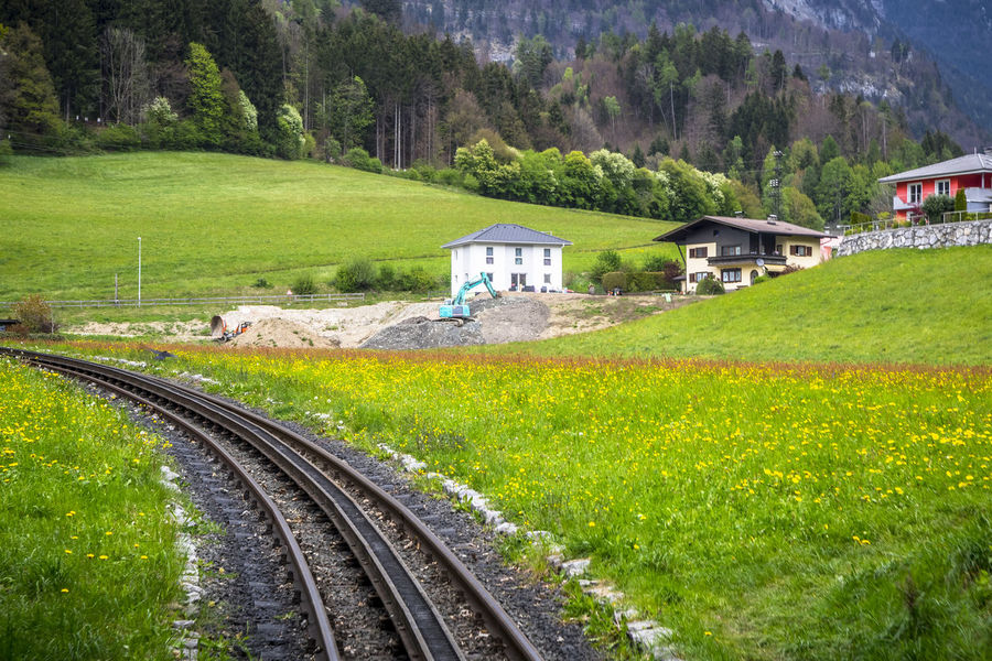 Rail to heaven Austria ❤ Jenbach Perspectives On Nature Alps Architecture Beauty In Nature Day Grass Green Color Landscape Meadows And Forests Mountain Nature No People Outdoors Rail Transportation Railroad Track Rural Scene Scenics Sky Steam Train Track Transportation Tree Zillertal