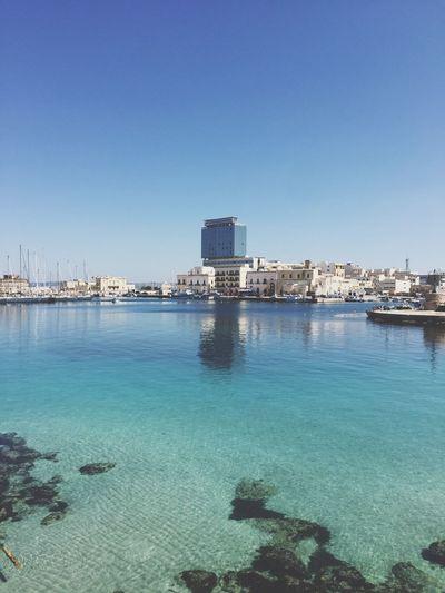Skyscraper Water Architecture Sea City Blue Lecce Gallipoli Italy Italia Lifestyles Sun Cityscape Clear Sky First Eyeem Photo EyeEm Selects
