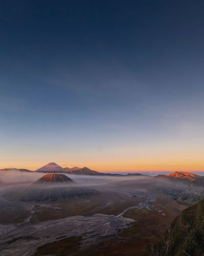 Sunrise bromo mountain Sunrise Sky Tranquil Scene Tranquility Scenics - Nature Beauty In Nature Landscape Environment Mountain Nature Land Blue Clear Sky No People