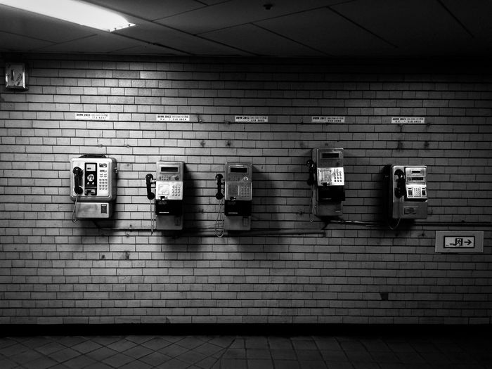 Pay phones on wall