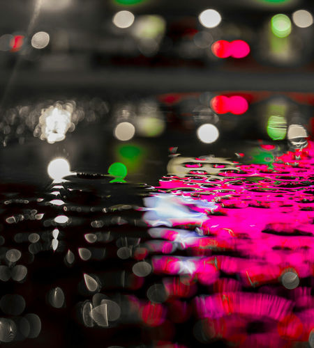 Abstract Bokeh Art! Water Multi Colored Reflection No People Illuminated Defocused Transportation Red Night Close-up Outdoors Refraction City Red Canont2irebel Low Angle View Colorado Photography Vision303photography Denver,CO Rain 5280 Front View Canon550D Light And Shadow Colorado