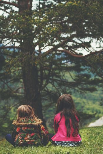 New Friendship Two People Girls Tree Childhood Rear View Togetherness Sitting Friendship Real People Child Outdoors Nature Day Children Only People