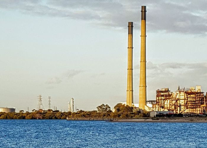 Industrial Industry Chimney Stacks Power Station River Industry