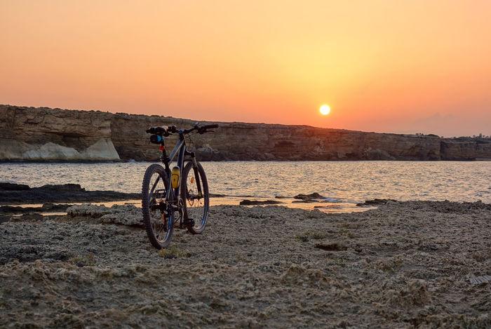 Landscape Nature Sky Plemmirio - Pillirina 🐠 Siracusa Sicily Italy Sea Water Sunset Beach Bicycle Pedal Sunlight Silhouette Sun