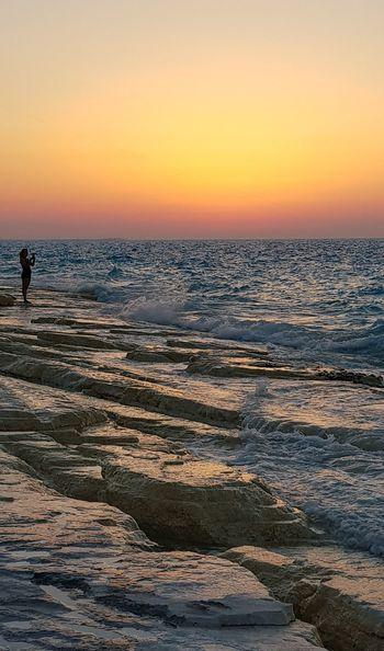 North coast, Alexandria, Egypt Water Wave Sea Sunset Beach Low Tide Horizon Awe Sand Summer Romantic Sky Coast Headland Moody Sky Calm