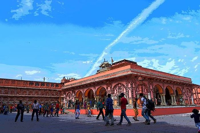 Perspective. Jaipur Citypalace Rajasthan Nikon D3300 Scene Sky Red People Blue