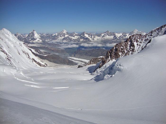 Monte rosa, matterhorn, valais alps and grenzgletscher, seen from lys pass, switzerland.