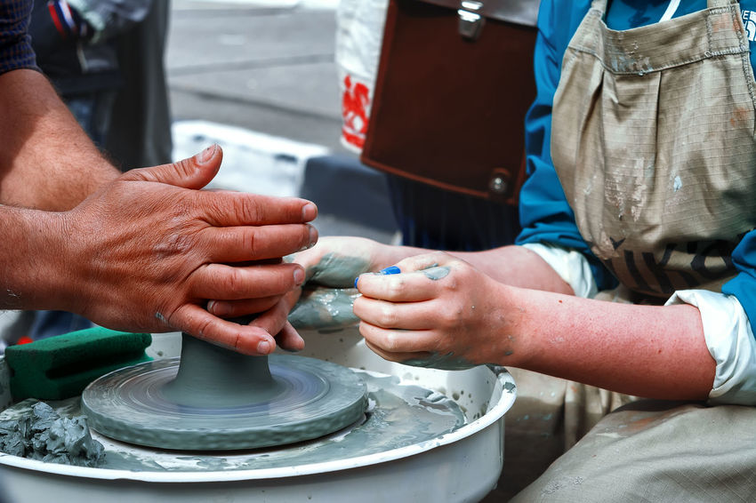 Potter's wheel Clay Clay Work Close-up Day Human Body Part Human Hand Men Outdoors Real People Pottery Terracotta Pot Myanmar Culture Sculptor Art Class Craft Product Ceramics Craft Molding A Shape