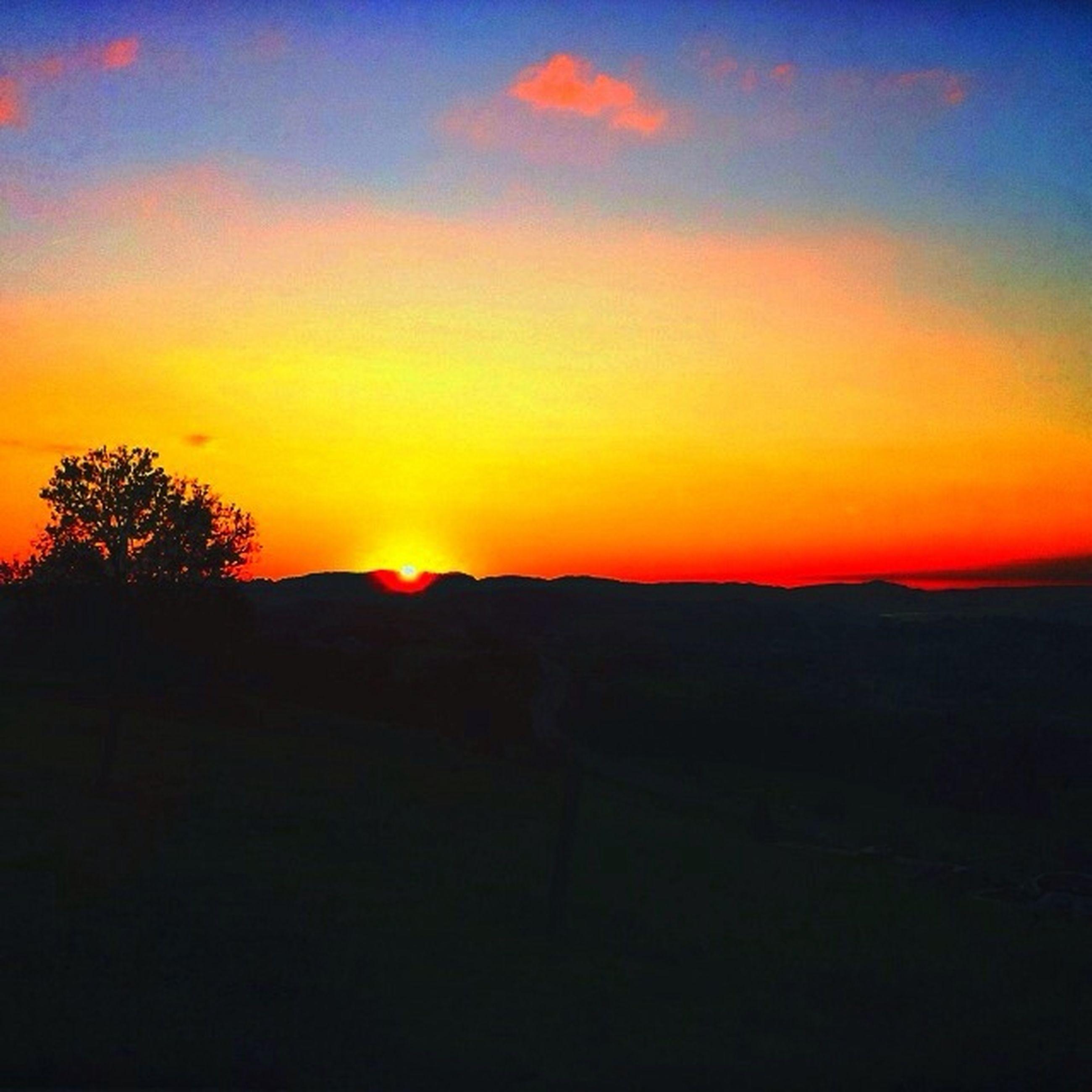 sunset, silhouette, orange color, scenics, tranquil scene, tranquility, beauty in nature, landscape, sky, idyllic, nature, sun, dark, copy space, tree, majestic, dramatic sky, non-urban scene, outdoors, no people
