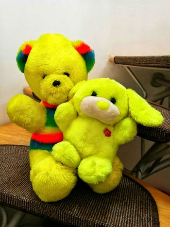 Greeting from my childhood. 😊Neon Life Neon Color Neon Colors Retro Retrostyle Retro Colors Retro Kids Childhood Retro Toys Retro Toy Bear Toy Bunny Toy Plush Bear Plush Bunny Plush Animals 80's Style... 90's Style Love ♥ Peace ✌ Hello ❤ Greeting