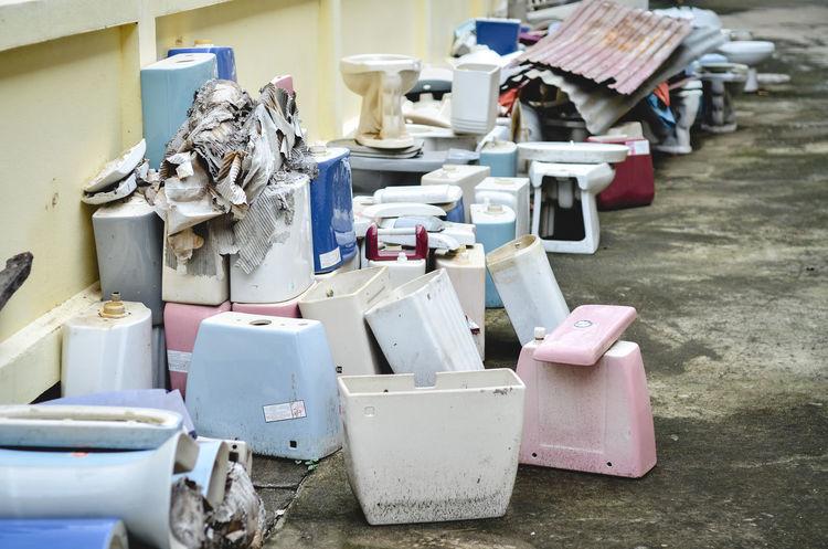 Still Life Bucket Old Flush Toilet Garbage Recycling