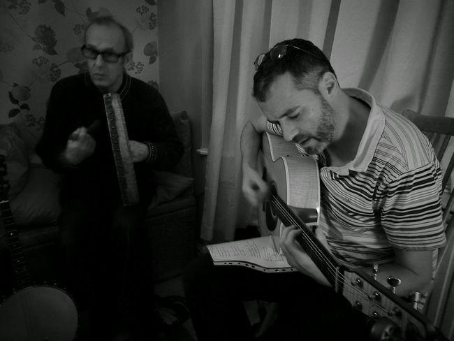 Two People Indoors  Blackandwhite Photography Folk Music Guitar Player Bodhran player
