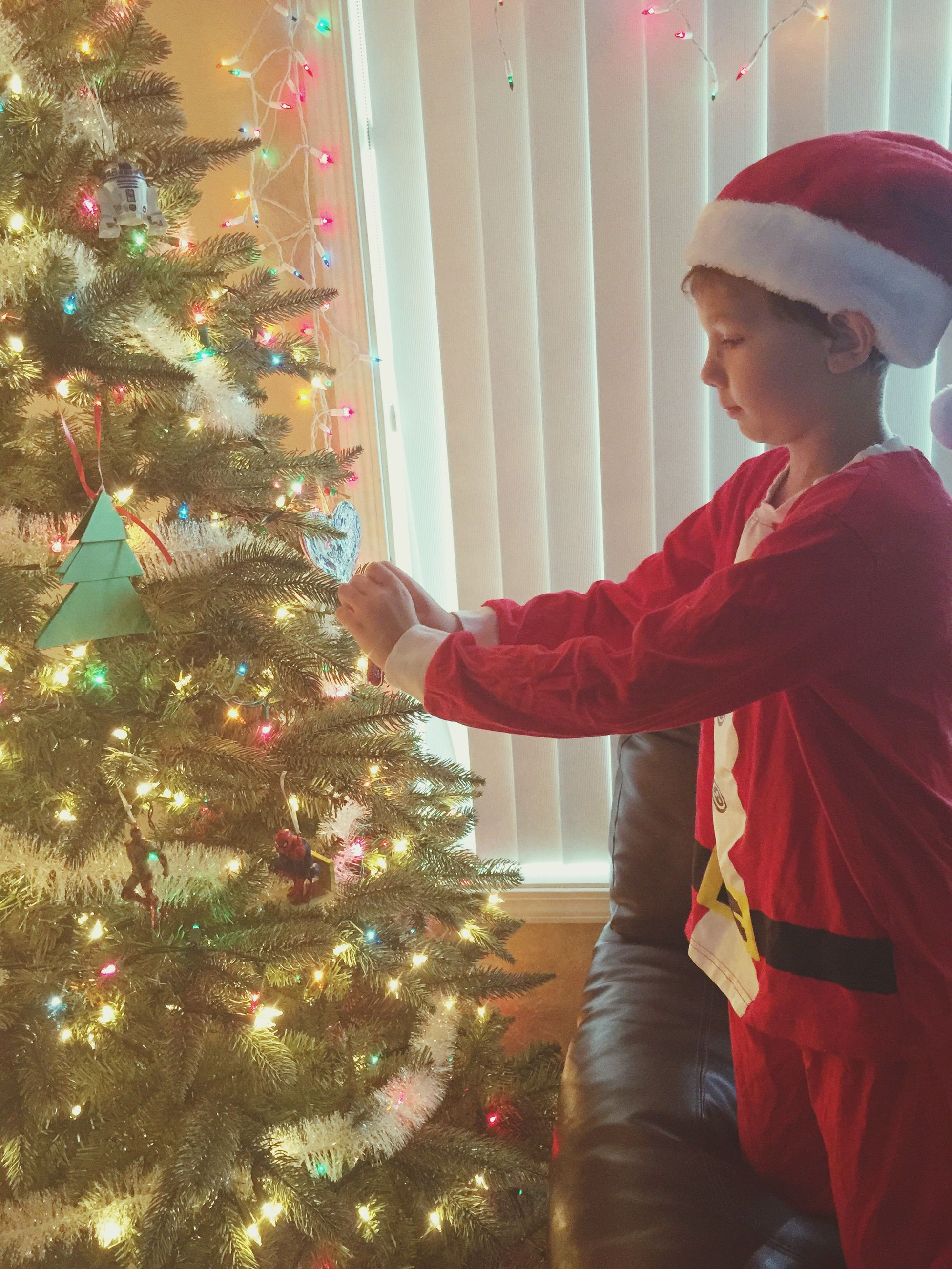 christmas, christmas tree, celebration, holiday - event, tree, indoors, christmas present, one person, domestic life, christmas decoration, anticipation, people, adults only, winter, christmas lights, childhood, gift, living room, multi colored, only men, adult, young adult, one man only, day