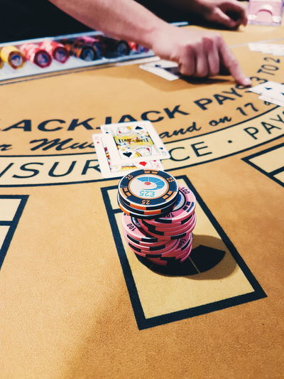Close-up Adult Blackjack Cards Game Cards Gambling Chip Gambling Gambler Gambling Addiction Casino Indoors  Human Hand