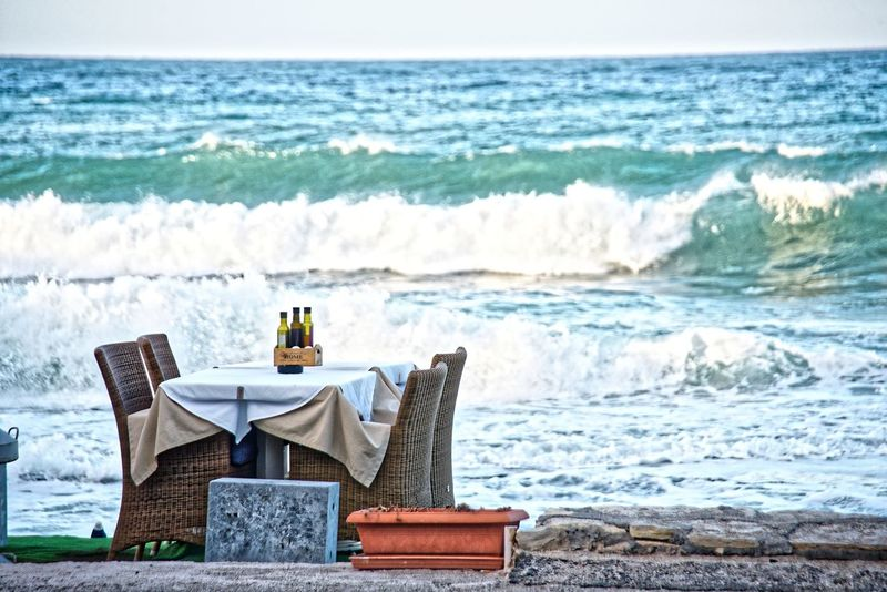 Chersonissos Crete Greece Hersonissos Beach Beauty In Nature Day Horizon Over Water Idyllic Kreta 🌅 Nature No People Oil And Vinegar Outdoors Preparing Dinner Scenics Sea Sea Scene Sky Table Water Wave