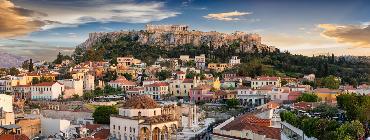 View to the old town and the Acropolis of Athens, Greece, during sunset time Ancient Greek Parthenon Plaka, Athens Sightseeing Tourist Attraction  Travel Acropolis Architecture Athens Attica Building City Cityscape Cloud - Sky Greece House Old Sky Sunset Temple Tourism Town TOWNSCAPE Travel Destinations