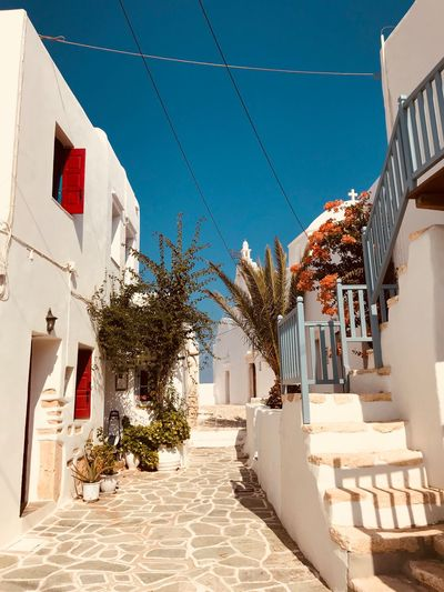 Greek idyll EyeEm Selects Built Structure Architecture Building Exterior Building Nature Sunlight Residential District Day Plant No People Decoration Sky City House Blue Outdoors Clear Sky White Color Staircase Tree