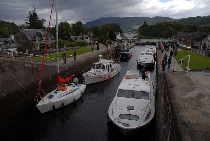 Boats on the Caledonian Canal, Fort Agustus, Scotland Caledonian Canal Cloud - Sky Mode Of Transport Moored Mountain Nature Nautical Vessel Outdoors Scottish Highlands Transportation Water