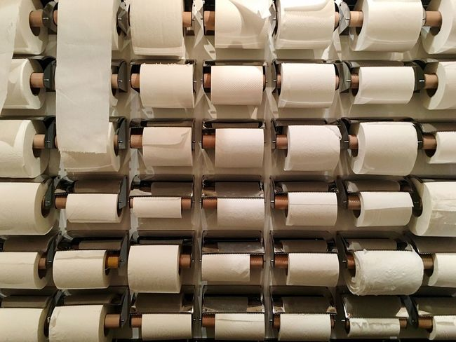 EyeEm Selects In A Row Industry Indoors  No People Backgrounds Close-up Nordic Light Multitude Repetition Repetitive Minimalism Surreal Supply Supplies Bathroom Toilet Toilet Paper Toilet Art
