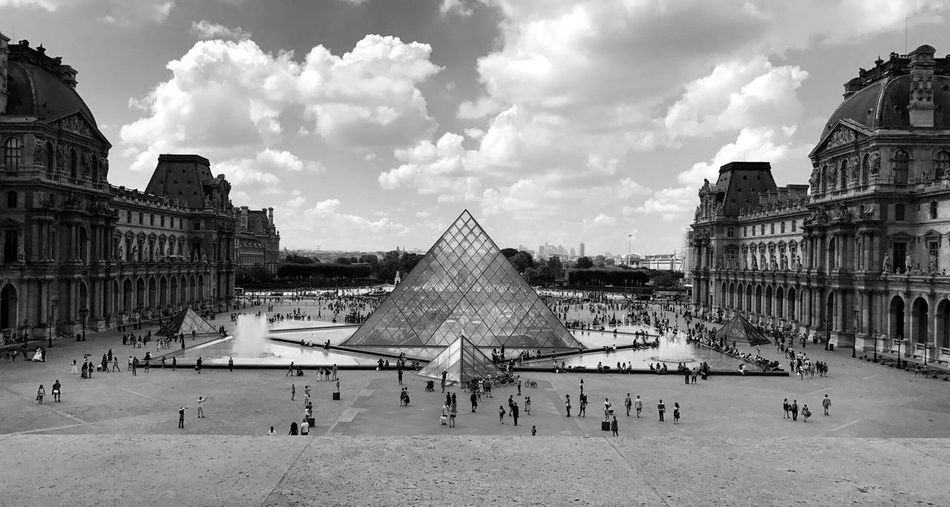 Paris. Louvre Architecture Built Structure Building Exterior Sky Cloud - Sky Large Group Of People Travel Destinations Pyramid Day History Outdoors People Incidental People