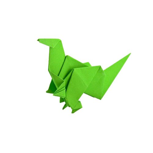 Dinosaur origami Green Color Shape White Background Single Object No People Paper Close-up education learn Study